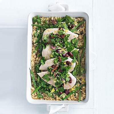 Quinoa Roasted Chicken with Olive Gremolata - Cooking with quinoa doesn