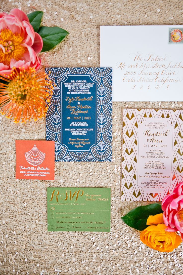 Glamorous Art Deco Invitations | Pitbulls and Posies LLC | Onelove Photography | TheKnot.com