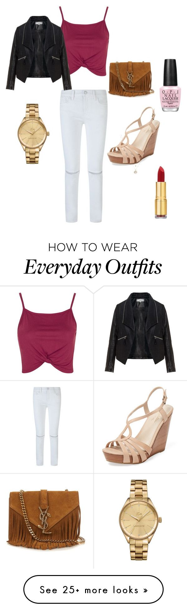 """Everyday outfit"" by juliataleb on Polyvore featuring Rebecca Minkoff, Topshop, Zizzi, Seychelles, Yves Saint Laurent, LC Lauren Conrad, Lacoste, OPI and Isaac Mizrahi"