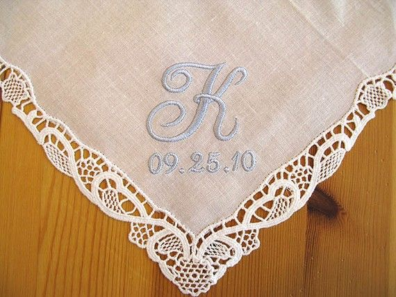 I'm going to need a hankie, I know it! --> Wedding Handkerchief with 1Initial and Date by linenwhites on Etsy, $14.50
