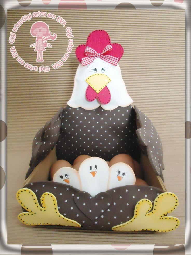 Gigi*_*Artes em E.V.A: Porta-ovos Galinha Tita!