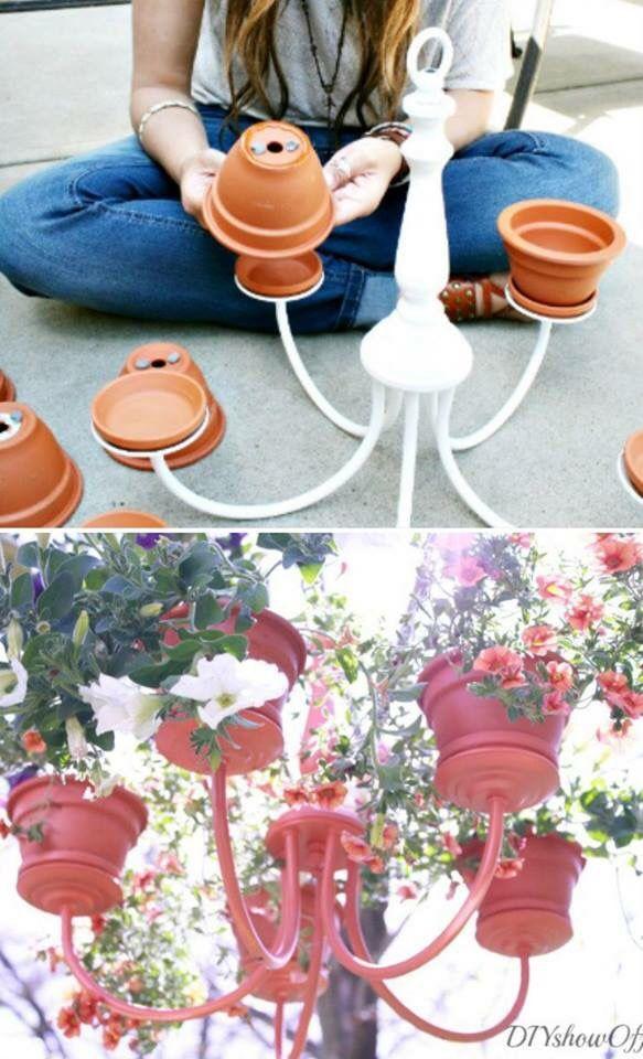 Flower pot chandelier