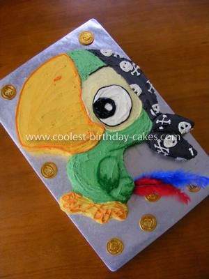 Coolest Skully the Parrot Birthday Cake: I made this Skully (Jake and the Neverland Pirates) cake for my daughter's 4th birthday. I used a picture off the net which I blew up and cut out for the