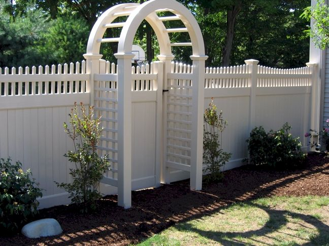 vinyl chestnut hill with board arbor and gate