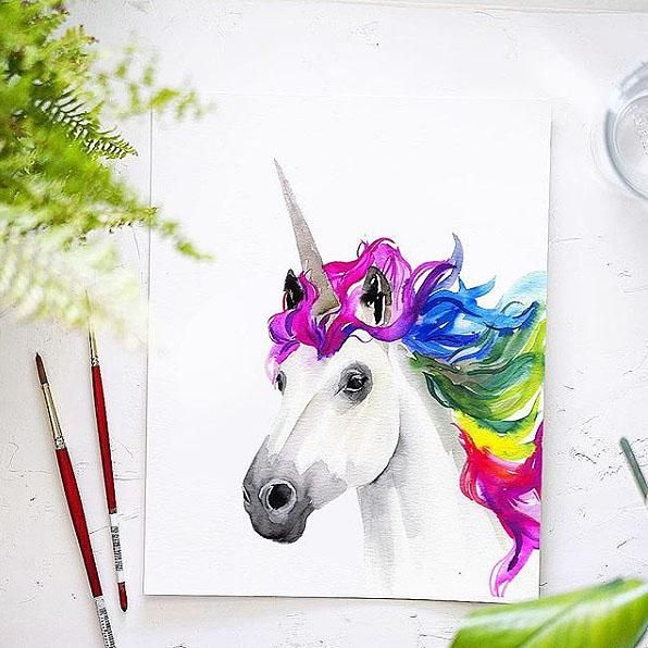 Rainbow Unicorn Watercolor Kit With Images Unicorn Painting