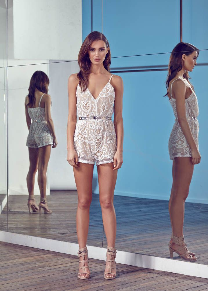 HER DAY LACE PLAYSUIT