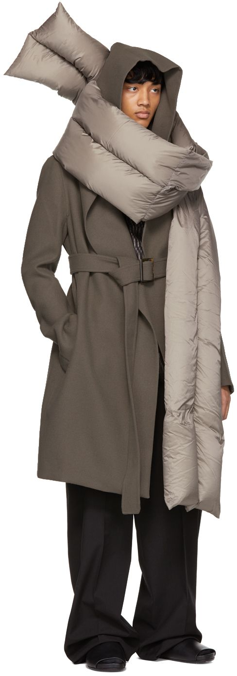 Rick Owens - Grey Wool Hooded Trench Coat
