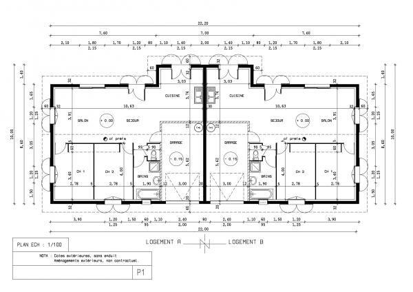 Plan maison jumelée plein pied