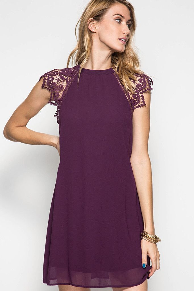 Purple Lace Cap Sleeve Dress