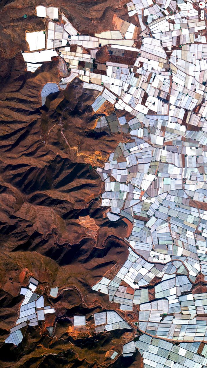 Plasticulture / Greenhouses, Almeria, Spain. Overview captured with Apple Maps. Satellite imagery from Digital Globe.