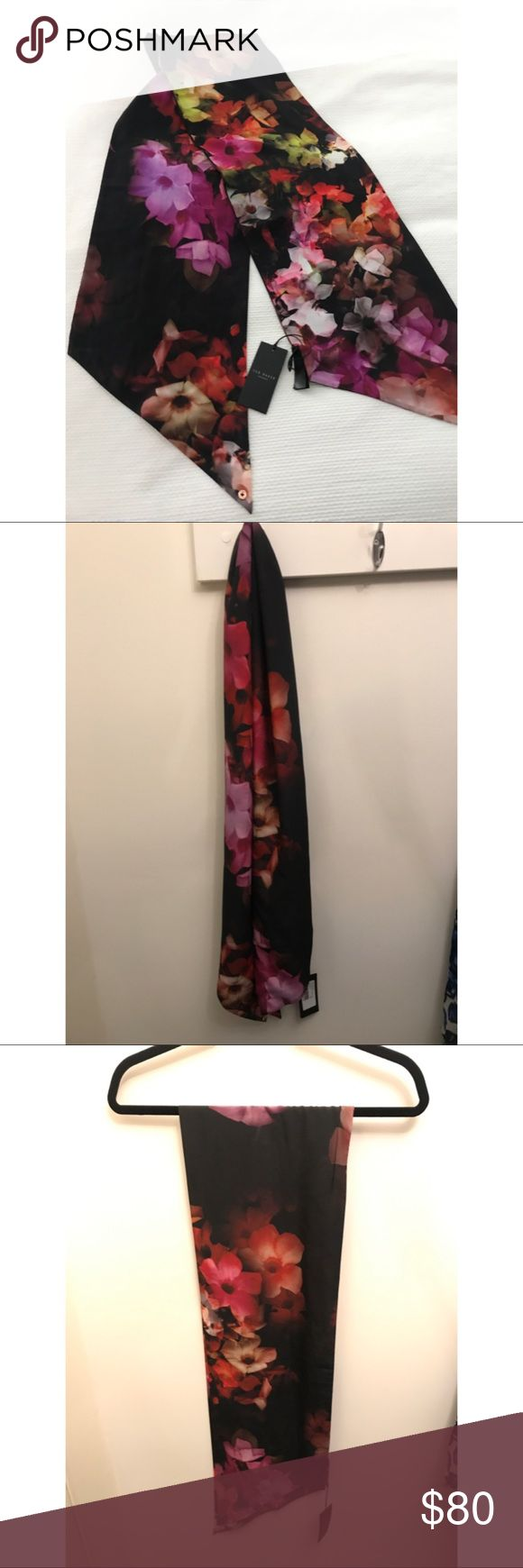 """Ted Baker London Floral Skinny Scarf NEW WITH TAGS! Ted Baker """"Cascading Floral"""" Skinny Scarf. Silk. Perfect for updating a springtime outfit or staying warm as the seasons change. Ted Baker London Accessories Scarves & Wraps"""
