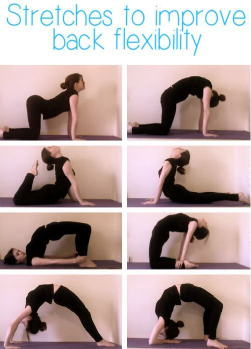 Stretches to improve back flexibility. I love these! However to fellow yogis n yoginis be sure you include a proper warm up before going into any type of deep back bend... Love and light!