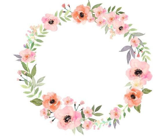 Watercolour Flower Wreath Clip Art Digital Download PNG