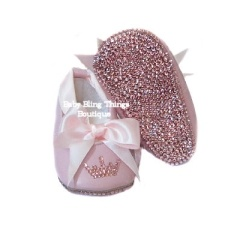 Pink Princess Bling Ballet Crib Shoes ~ Your little girl will turn heads everywhere she goes with these awesome Swarovski crystal embellished ballet slipper crib shoes.