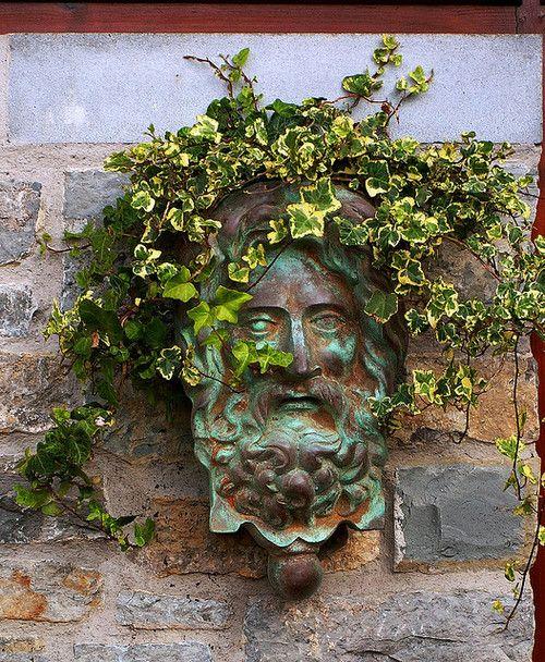 Sweetwillowtree: Garden Artistry: Chalice Well Gardens: Entrance Greenman  (by Phoenix SpringWater) (via Iamfawn)