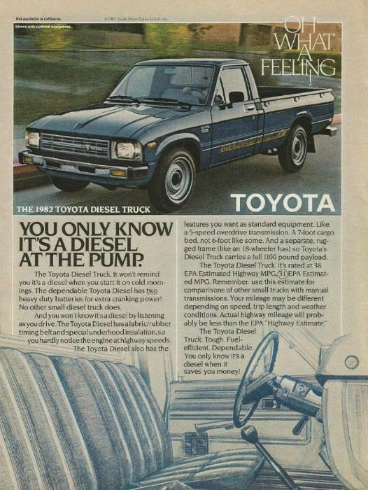 "1982 Toyota Diesel Pickup Truck Ad ""What a Feeling"""