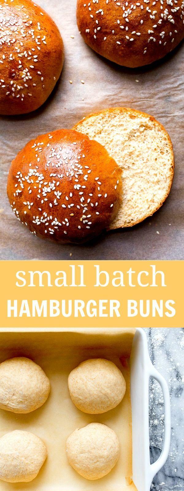 Homemade hamburger buns with whole wheat flour. Small batch bread recipe makes 4 buns. Brioche buns!