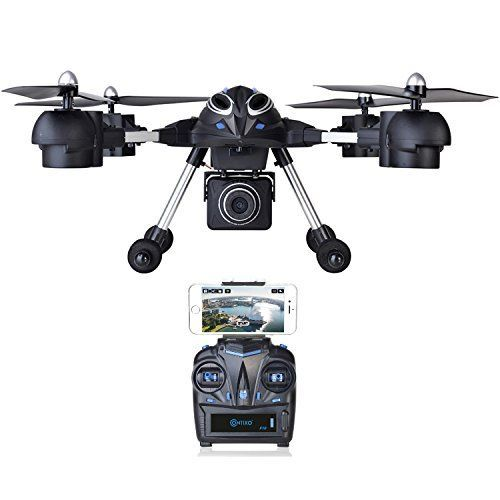 Black Friday - Contixo Wifi FPV F10 RC Quadcopter Drone Live View 720p HD Wifi Camera Headless Mode 2.4GHz 4 Channel 6 Axis Gyro RTF Support GoPro HERO Cameras.