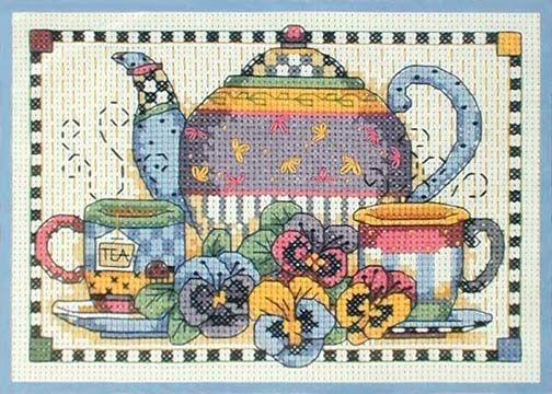 Teatime Pansies ~ counted cross stitch kit ~ Debbie Mumm
