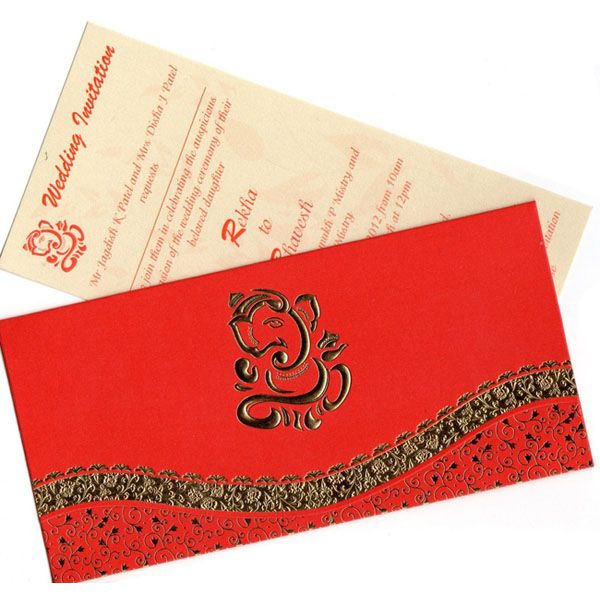 Indian Wedding Cards - Hindu Wedding Cards - Red and Gold Ganesh Kankotri.