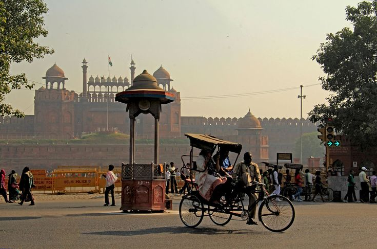 Cycle rickshaw outside the Red Fort, Delhi