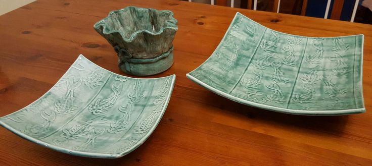 Green: pinch pot and two slab platters