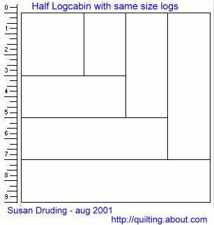 Free Log Cabin Quilt Patterns | ... are larger views of each of the two styles of Half Log Cabin blocks