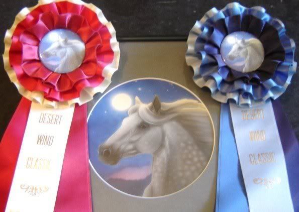 """Custom Rosettes from Desert Wind Classic model horse show, using more """"traditional"""" colors."""