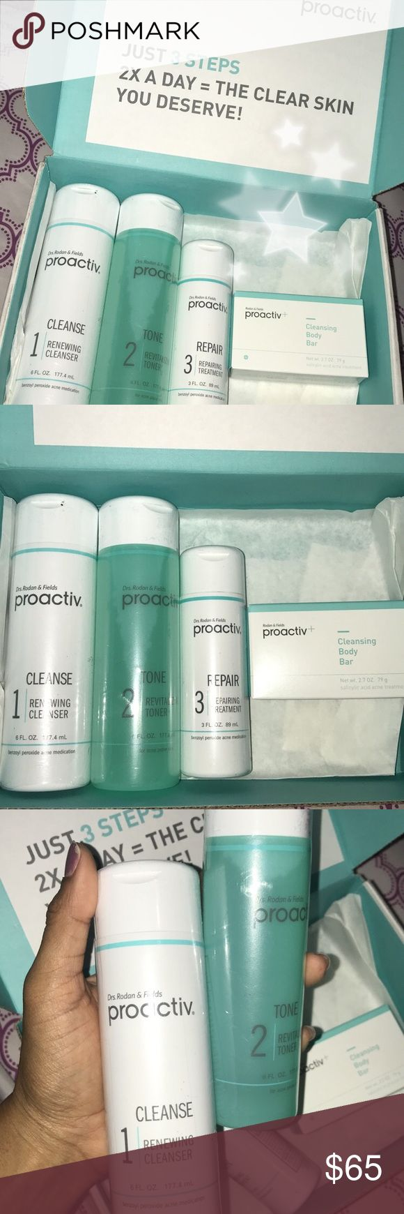 BRAND NEW NEVER USED PROACTIV KIT Brand new never used or open Proactiv skin car kit, comes with the Full Size Cleanser, Toner,  repairing treatment and cleansing body bar😊, also comes with extra FREE GIFTS 🎁 Sephora Makeup