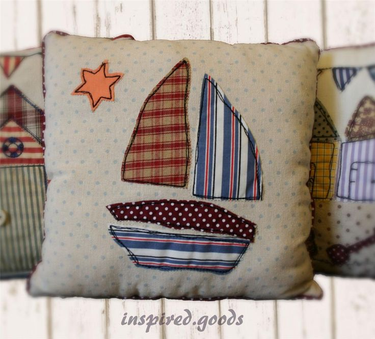 NEW Seaside Patchwork Cushion  Cover Nautical Beach Huts  Bunting - Red  Blue | eBay