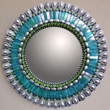 Mirror - Iridized Italian Glass, Glass Beads, And Metal, Set On A Wood Base