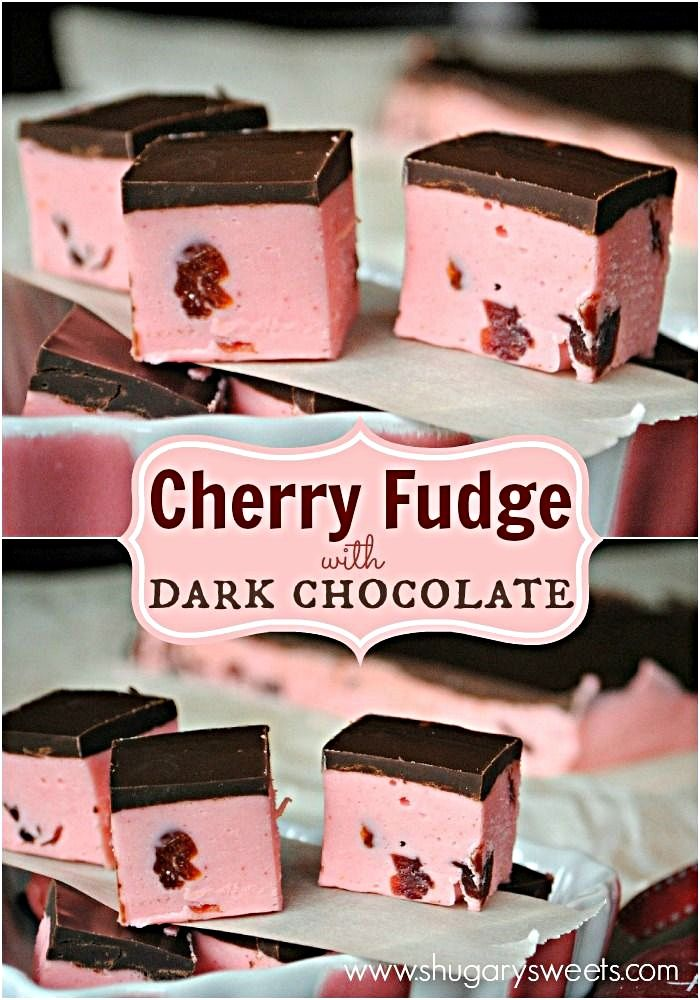 Soft Cherry Fudge recipe topped with a dark chocolate ganache