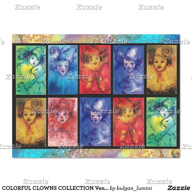 COLORFUL CLOWNS COLLECTION Venetian Carnival Faces Tissue Paper #circus #clown #portraits #fineart #crafts #craft
