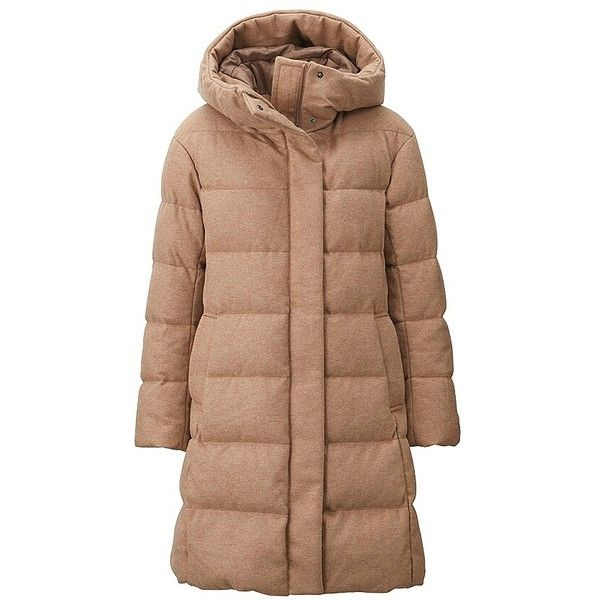 UNIQLO Stretch Wool Blended Down Coat (£130) ❤ liked on Polyvore featuring outerwear, coats, hooded coats, beige coat, uniqlo coat, long coat and uniqlo