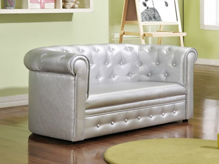Canapé pour enfant Chesterfield en simili TIANA - Argent