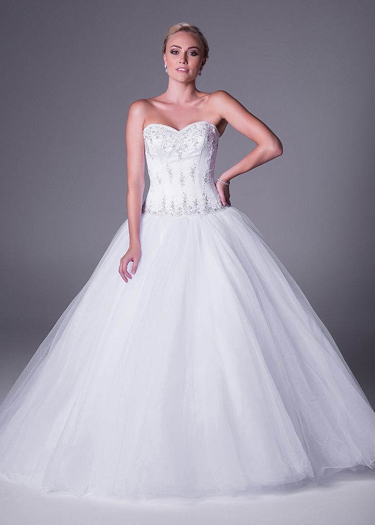 White Wedding Dream! Imagine yourself is this glamorous strapless, lace ballgown designed by Oleg Cassini is only available at Bride&co (style FE25603). Click to Book a Free Fitting