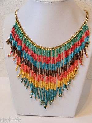 "NAVAJO INDIAN MULTI-COLOR FRINGE GLASS SEED BEAD 18"" GOLD TONE CHAIN NECKLACE"
