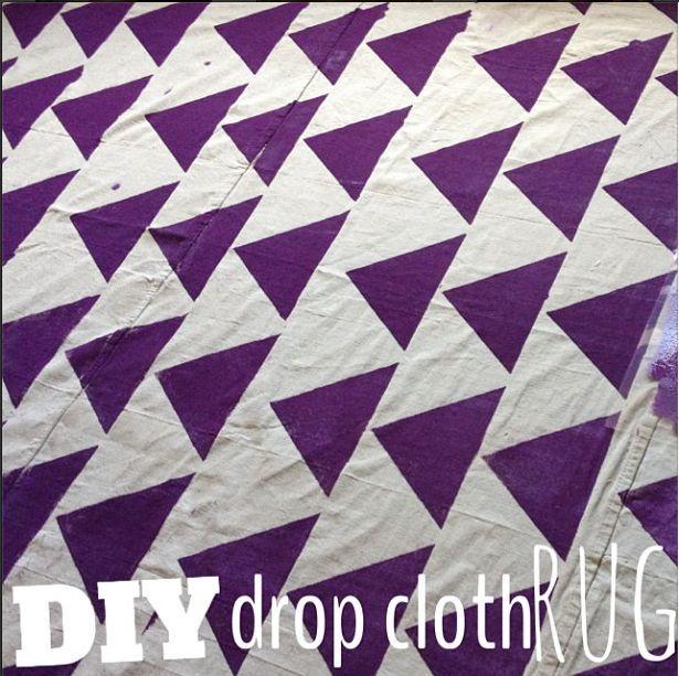 Painting A Rug On Painters Drop Cloth | Diy Drop Cloth Rug