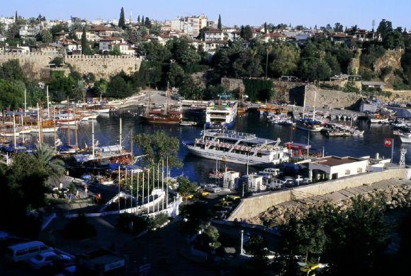 Scene around Kaleici. The old city center in Antalya