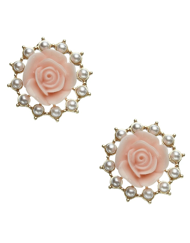 Pearly Rose Stud Earrings, £6 from Accessorize