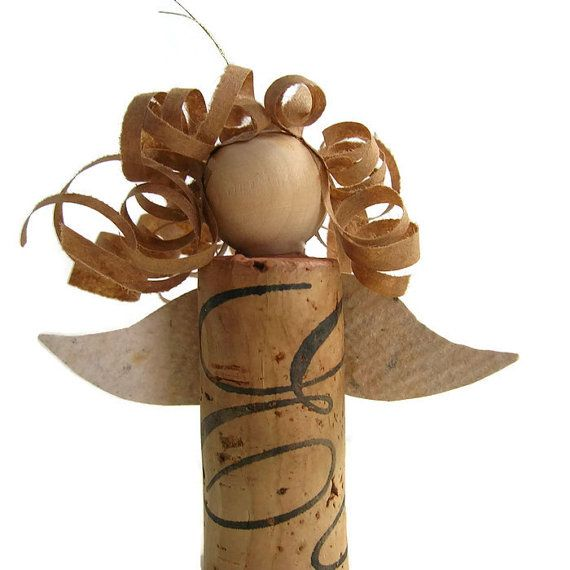 Angel Christmas ornament made from a recycled wine cork by PulpArt