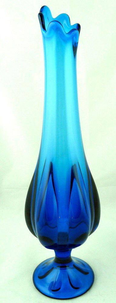 Vintage Fenton Blue Footed Pulled Glass Vase 16 3 8 Quot Blue Glass Glass Glass Vase Vase