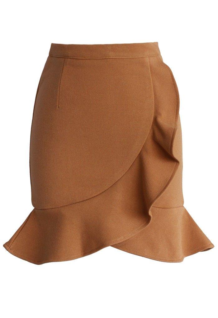 Camel Frilling Bud Skirt