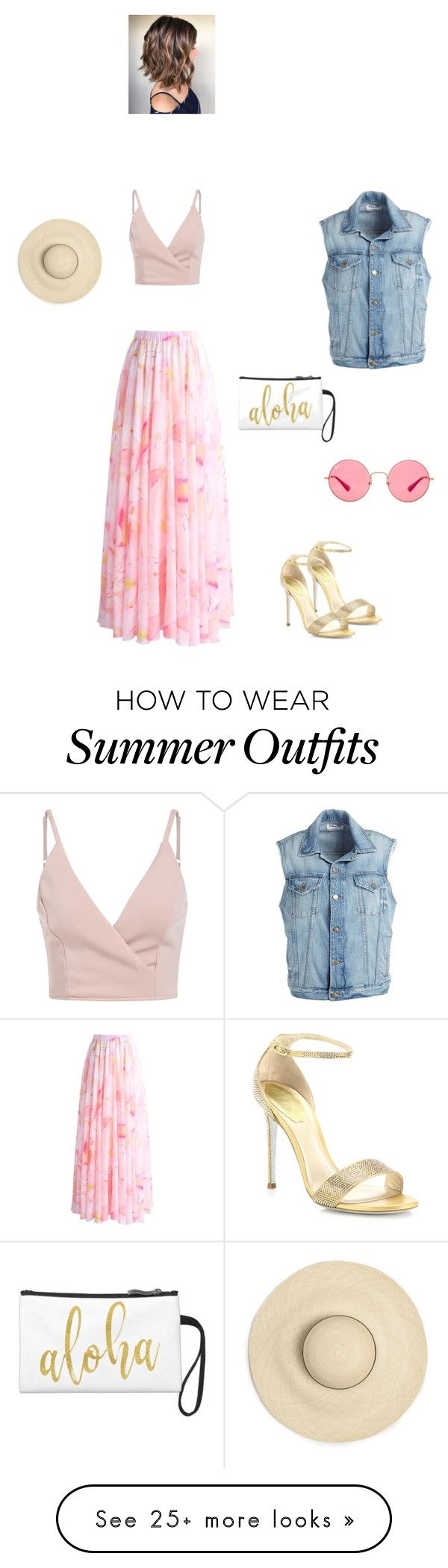 """Summer outfit"" by gaia-gaziano on Polyvore featuring Chicwish, René Caovilla, Ray-Ban and Frame"