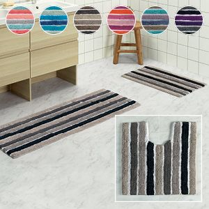 Featuring smart, contemporary and colourful stripes, the Coleman range will make a stylish and beautiful addition to the bathroom. Thick and absorbent, these cotton mats will provide comfort underfoot for shower, bath, toilet and vanity areas.