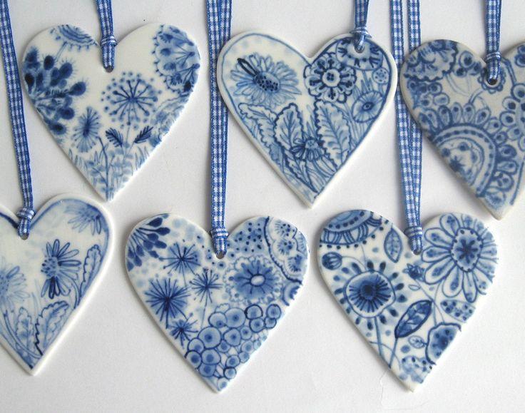 Porcelain  Heart -  Blue Delft Wall hanging/ornament. $39.00, via Etsy.
