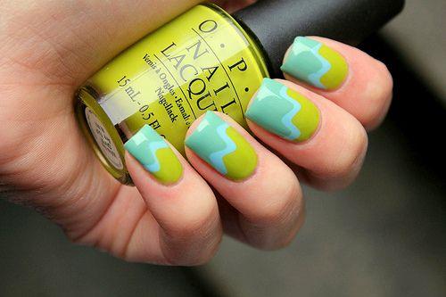 Blue Green Summer Nails: Colors Combos, Nails Art, Nailart, Nails Design, Spring Nails, Beautiful, Summer Nails, Nails Polish, Green Nails