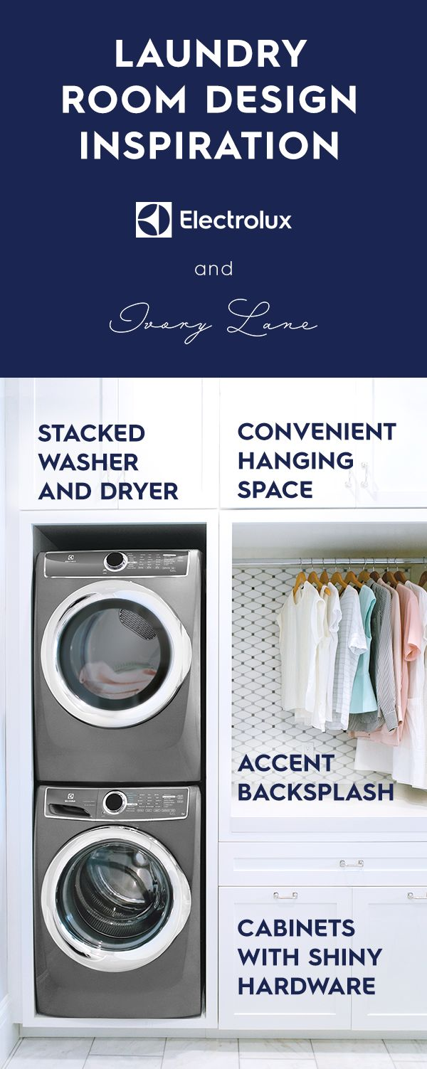 Stack your washer and dryer like @emilyjacks to maximize space in your laundry room. Some other design details in her space include: Electrolux appliances in titanium, all-white cabinets with chrome hardware, and a nook for folding and hanging.