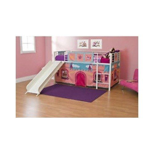 """This Girls Loft Bed or Princess Loft Bed With Slide can be used for playtime or a quiet spot for hanging out. Girls Princess Castle Novelty Curtains included.  Girls Loft Bed with Slide, Twin, White:         Features metal bed slats     Bed accommodates a twin mattress     Mattress and accessories sold separately (curtain included)     Meets ASTM and CPC safety specifications     Overall construction: metal     Weight capacity of bed: 150 lbs     Height from floor to bed platform: 29.5""""..."""