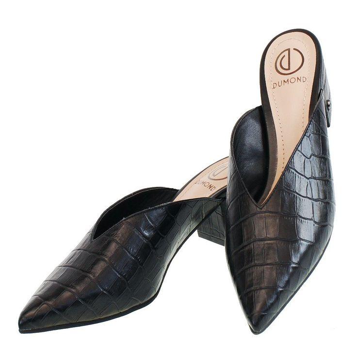 Casual Mule Decote V Preta Croco 4919 Dumond para Moselle   Moselle sapatos finos online! Moselle é feminina – Moda – Sapatos